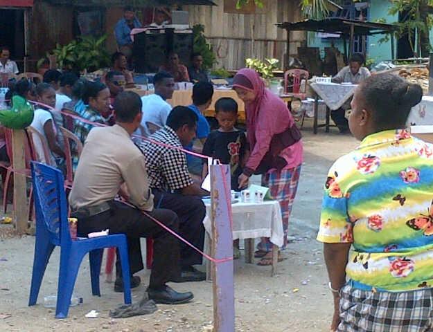 suasana saat pencoblosan di Hamadi,Jayapura (29/1/2013)