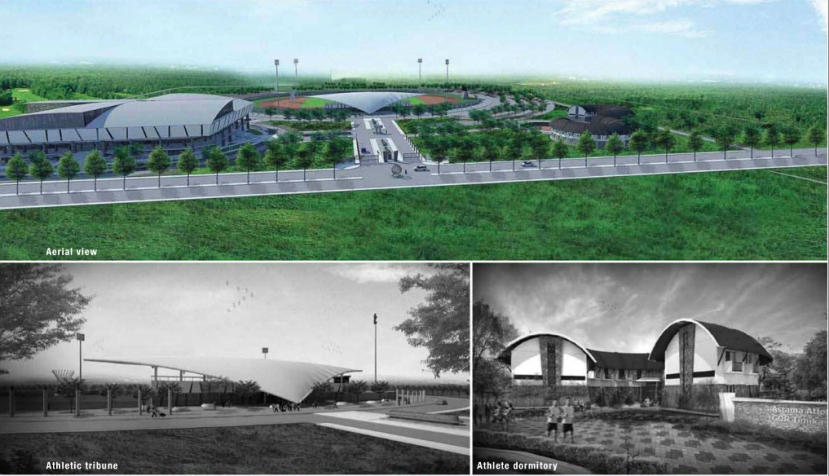 visualisasi rencana pembangunan Sport Centre di Timika dalam rangka tuan rumah PON XX