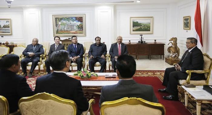 Presiden RI menerima kunjungan delegasi para Menlu negara-negara anggota MSG, Januari 2014 (Foto: detiknews.com)