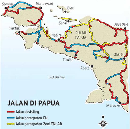 peta jalan trans papua