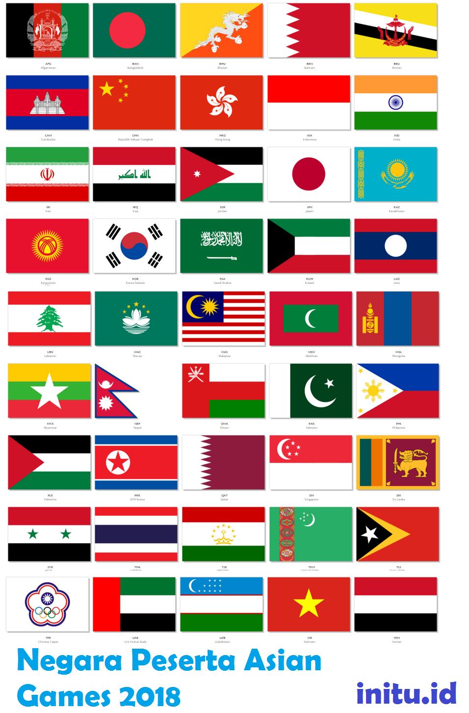 bendera negara peserta asian games 2018 - Asian Games 2018 Tanggal